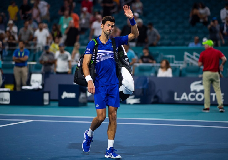 Novak Djokovic of Serbia waves to the crowd as he leaves the court after losing against Roberto Bautista Agut of Spain in the fourth round of the Miami Open on March 25, 2019 in Miami Gardens, Florida. PHOTO/GettyImages