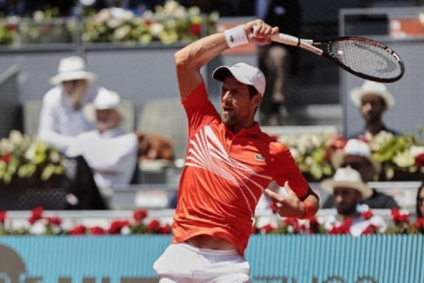Noval Djokovic during the Mutua Madrid Open Masters match on day 7 at Caja Magica in Madrid, Spain. May 09, 2019. PHOTO/AFP
