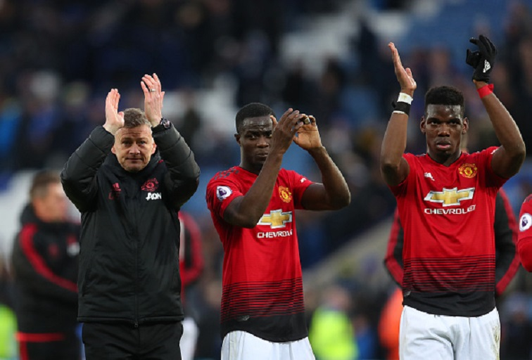 Ole Gunnar Solskjaer interim manager of Manchester United with Eric Bailly and Paul Pogba after the Premier League match between Leicester City and Manchester United at The King Power Stadium on February 03, 2019 in Leicester, United Kingdom. PHOTO/GettyImages