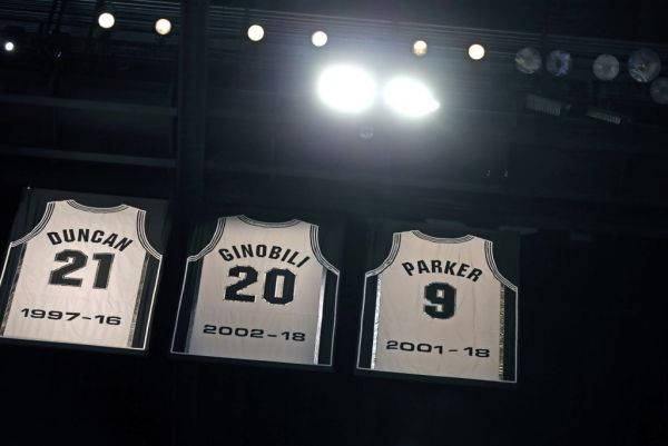 ony Parker jersey joins the Tim Duncan and Manu Ginobili jersey during the Tony Parker jersey retirement ceremony at AT&T Center on November 11, 2019 in San Antonio, Texas. PHOTO | AFP