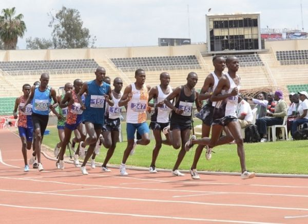 Ostrava One Mile champion Michael Kibet (bib 153) in men's 5000m contest at the Athletics Kenya's national trials cum Doha Worlds Qualifiers at Nyayo National Stadium in Nairobi on September 12, 2019. PHOTO:Dancun Sirma