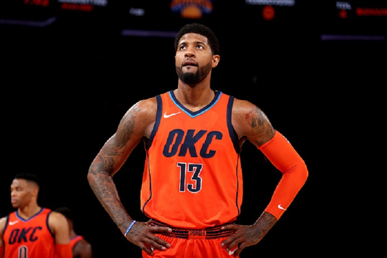 Paul George #13 of the Oklahoma City Thunder looks on against the New York Knicks on January 21, 2019 at Madison Square Garden in New York City, New York.  PHOTO/GettyImages