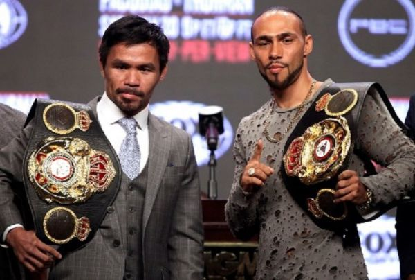 Philippine boxer Manny Pacquiao (L) and US boxer Keith Thurman pose as they hold their final press conference at the MGM Grand Hotel & Casino on July 17, 2019 in Las Vegas, Nevada, ahead of their July 20th WBA welterweight fight.PHOTO/AFP