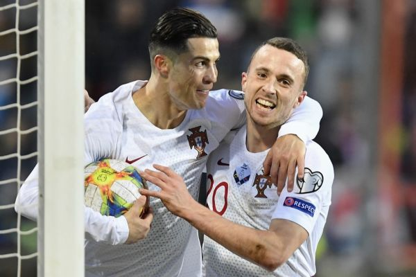 Portugal's forward Cristiano Ronaldo (L) celebrates after scoring a goal during the UEFA Euro 2020 Group B qualification football match between Luxembourg and Portugal at the Josy Barthel Stadium in Luxembourg on November 17, 2019. PHOTO   AFP