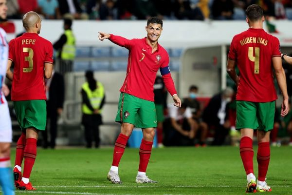 Portugal's forward Cristiano Ronaldo reacts during the FIFA World Cup Qatar 2022 qualification group A football match between Portugal and Luxembourg, at the Algarve stadium in Faro, Portugal, on October 12, 2021. PHOTO | Alamy