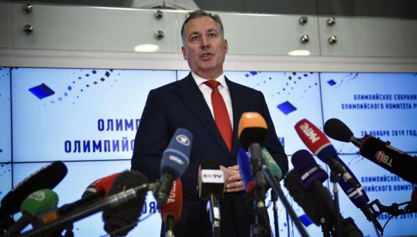 President of the Russian Olympic Committee (ROC) Stanislav Pozdnyakov talks to reporters in Moscow on November 28, 2019. Russia's Olympic Committee will do all it can to ensure Russian athletes take part in the 2020 Games, its chief said on November 28, 2019, as the country faces a four-year doping ban. PHOTO | AFP