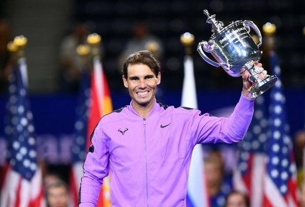 Rafael Nadal of Spain holds the trophy after his win over Daniil Medvedev of Russia during the men's Singles Finals match at the 2019 US Open at the USTA Billie Jean King National Tennis Center in New York on September 8, 2019. PHOTO | AFP