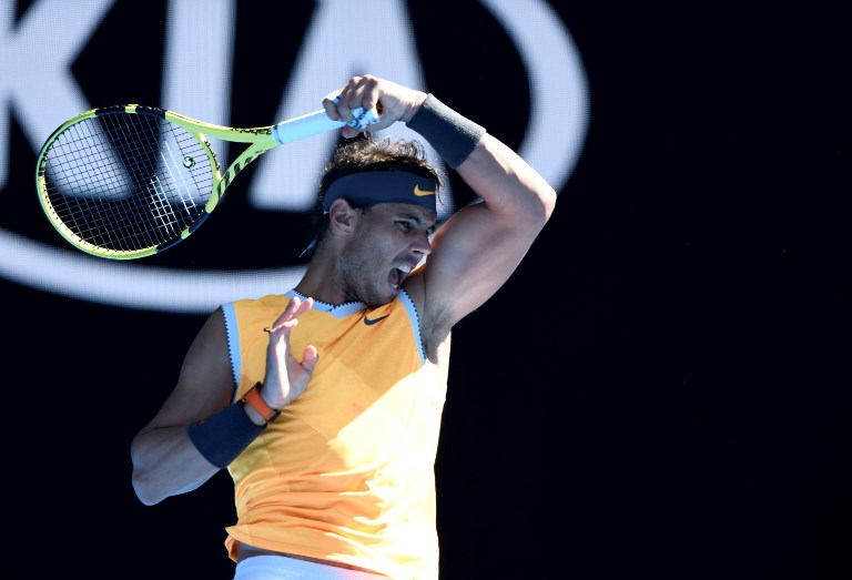 Rafael Nadal of Spain in action against Tomas Berdych (not seen) of Czech Republic during Australian Open 2019 Men's Singles match in Melbourne, Australia on January 20, 2019. Nadal won the match with 3-0. PHOTO/AFP