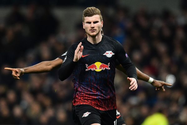 RB Leipzig's German striker Timo Werner celebrates scoring the opening goal from the penalty spot during the UEFA Champions League round of 16 first Leg football match between Tottenham Hotspur and RB Leipzig at the Tottenham Hotspur Stadium in north London, on February 19, 2020. PHOTO | AFP