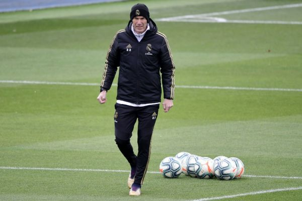 Real Madrid's French coach Zinedine Zidane attends a training session at the club's training ground in Valdebebas in the outskirts of Madrid on February 29, 2020 on the eve of the Spanish League football match between Real Madrid and Barcelona. PHOTO | AFP