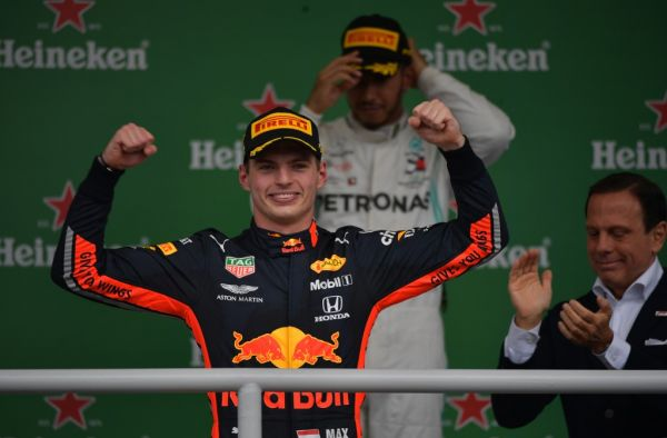 Red Bull's Dutch driver Max Verstappen celebrates at the podium after winning the F1 Brazil Grand Prix, at the Interlagos racetrack in Sao Paulo, Brazil on November 17, 2019. PHOTO \ AFP