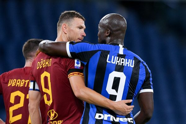 Romelu Lukaku of FC Internazionale talks with Edin Dzeko of AS Roma during the Serie A match between Roma and FC Internazionale at Stadio Olimpico, Rome, Italy on 19 July 2020. PHOTO | AFP