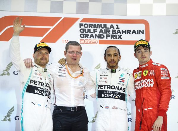 GP DE BAHREIN-Formula 1 Gulf Air Bahrain Grand Prix 2020 Second_placed_mercedes__finnish_driver_valtteri_bottas__l____first_placed_mercedes__british_driver_lewis_hamilton__2nd_r__and_third_placed_ferrari_s_monegasque_driver_charles_leclerc__r__are_seen_on_the_podium_after_the_2019_bahrain_fo_edb82f2e5c