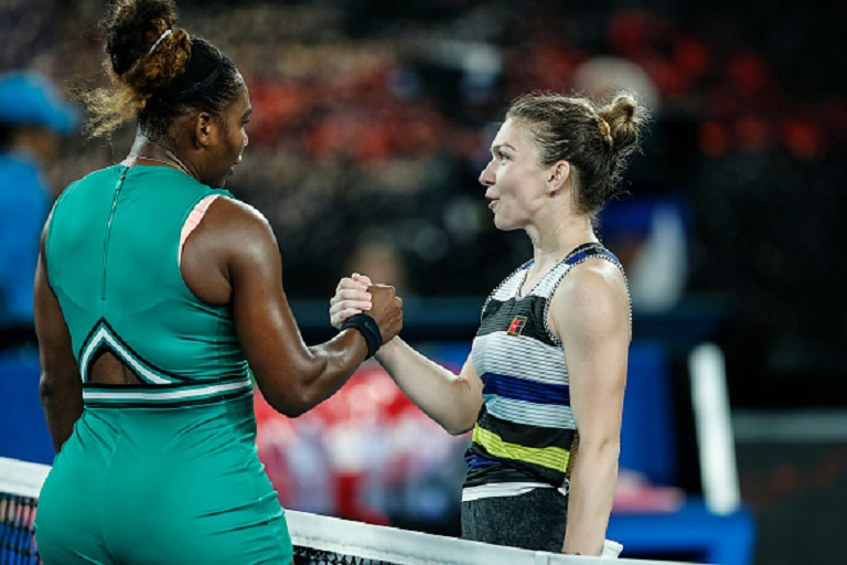 Serena Williams of the United States and Simona Halep of Romania embrace at the net following their fourth round match against Simona Halep of Romania during day eight of the 2019 Australian Open at Melbourne Park on January 21, 2019 in Melbourne, Australia. PHOTO/GettyImages