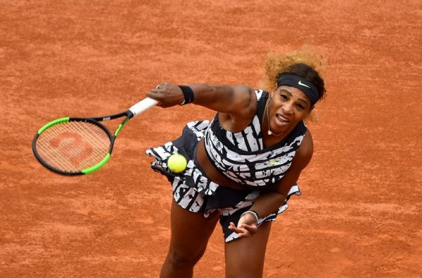 Serena Williams of The United States in action against Vitalia Diatchenko (not seen) of Russia during their first round match, during the French Open tennis tournament at Roland Garros Stadium in Paris, France on May 27, 2019. PHOTO | AFP