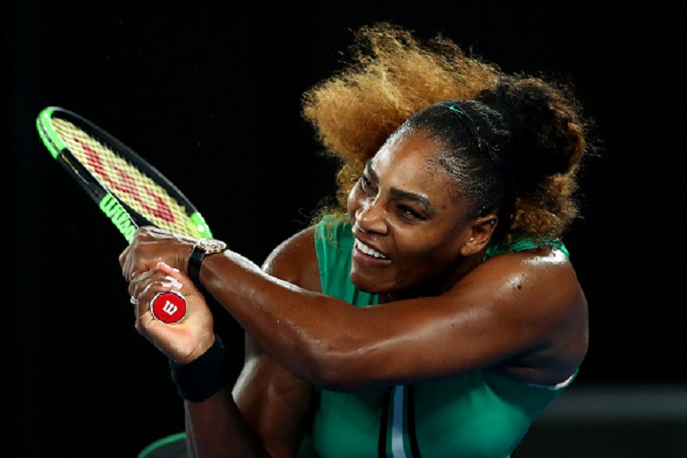 Serena Williams of the United States plays a backhand during her second round match against Eugene Bouchard of Canada during day four of the 2019 Australian Open at Melbourne Park on January 17, 2019 in Melbourne, Australia.PHOTO/GETTY IMAGES