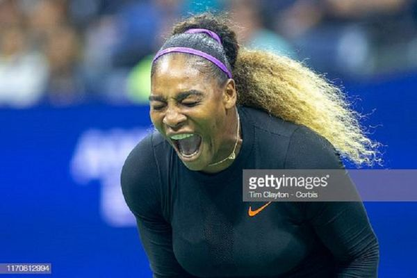 Serena Williams of the United States reacts during her match against Catherine McNally of the United States in the Women's Singles Round Two match on Arthur Ashe Stadium at the 2019 US Open Tennis Tournament at the USTA Billie Jean King National Tennis Center on August 27th, 2019 in Flushing, Queens, New York City. PHOTO/ GETTY IMAGES
