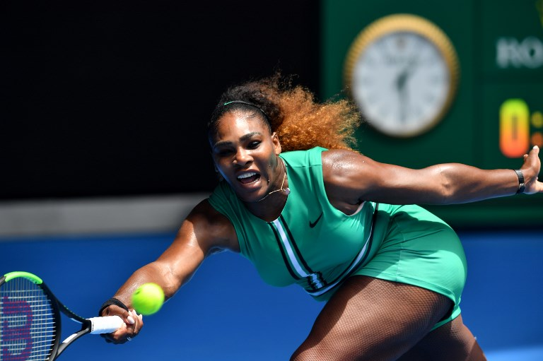 Serena Williams of the US hits a return against Germany's Tatjana Maria during their women's singles match on day two of the Australian Open tennis tournament in Melbourne on January 15, 2019. PHOTO/AFP