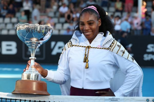 Serena Williams of the US poses with her trophy after winning against Jessica Pegula of the US during their women's singles final match during the Auckland Classic tennis tournament in Auckland on January 12, 2020. PHOTO | AFP