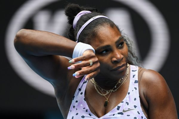 Serena Williams of the US reacts after a point against China's Wang Qiang during their women's singles match on day five of the Australian Open tennis tournament in Melbourne on January 24, 2020. PHOTO | AFP