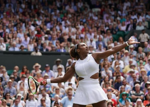 Serena Williams of U.S.A. hits a ball during the ladies' singles semi-final of the Championships, Wimbledon against Barbora Strycova of Czech Republic at the All England Lawn Tennis and Croquet Club in London, United Kingdom on July 11, 2019. Serena Williams won the match to advance final. PHOTO | AFP