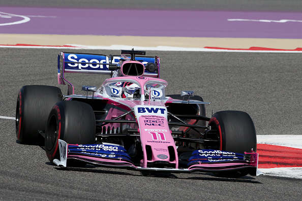 Sergio Perez of Mexico driving the (11) Racing Point RP19 Mercedes on track during practice for the F1 Grand Prix of Bahrain at Bahrain International Circuit on March 29, 2019 in Bahrain, Bahrain.PHOTO/ GETTY IMAGES