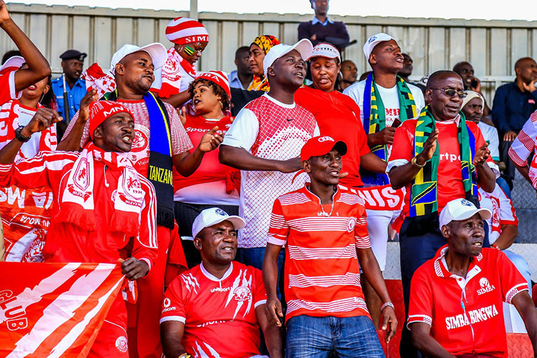 Simba SC fans in full voice at the Afraha Stadium, Nakuru in the 2018 SportPesa Cup. PHOTO/File
