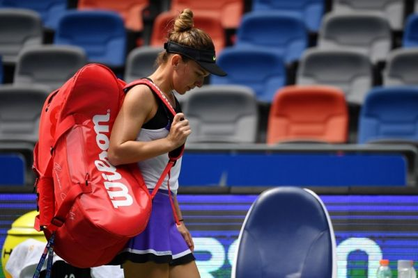 Simona Halep of Romania leaves the court following her third round women's singles match against Elena Rybakina of Kazakhstan at the Wuhan Open tennis tournament in Wuhan on September 25, 2019. PHOTO | AFP