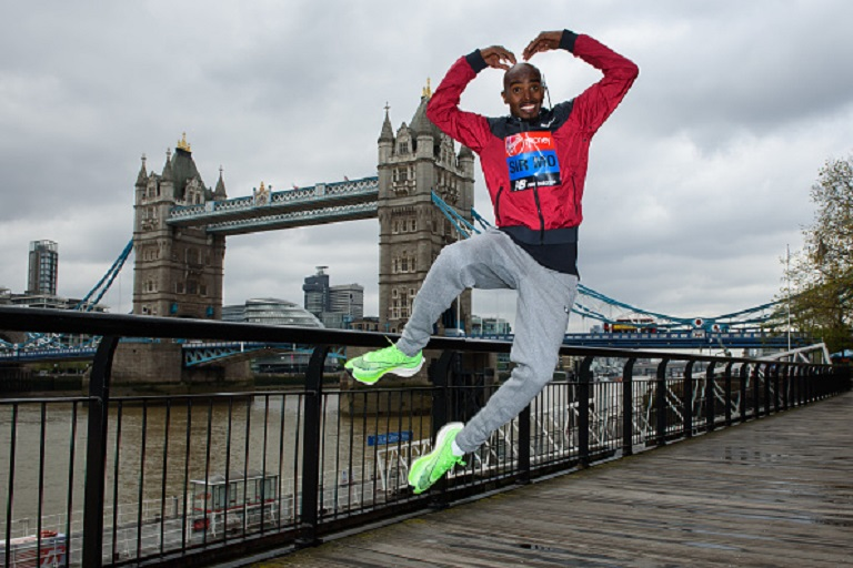 Sir Mo Farah attends the Elite men's photocall ahead of Sunday's London Marathon at The Tower Hotel on April 24, 2019 in London, England. PHOTO/ GETTY IMAGES