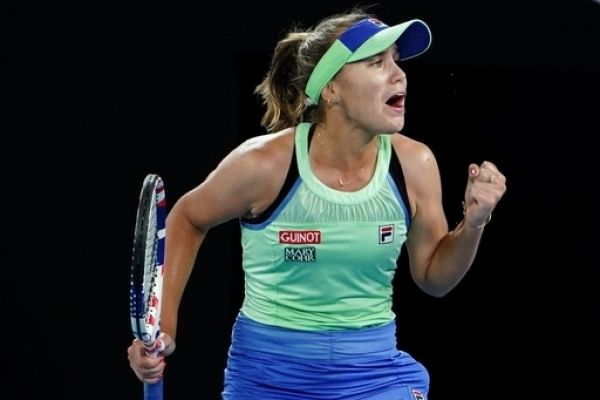 Sofia Kenin of the USA gestures during the women's singles final against Garbine Muguruza of Spain on day 13 of the Australian Open tennis tournament at Rod Laver Arena in Melbourne, Saturday, February 1, 2020. PHOTO   AFP