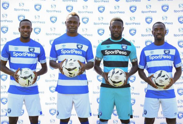 Soter Kayumba (left), Ismaila Diarra (second from left), Benjamin Ochan (GK) and Tresor Ndikumana (right) pose for a picture after being confirmed as new AFC Leopards SC players. PHOTO | AFCLeopardsTwitter