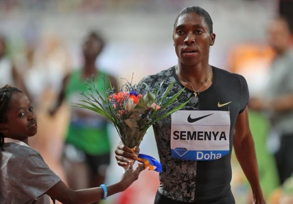 South Africa's Caster Semenya celebrates after winning the women's 800m during the IAAF Diamond League competition on May 3, 2019 in Doha. PHOTO/AFP