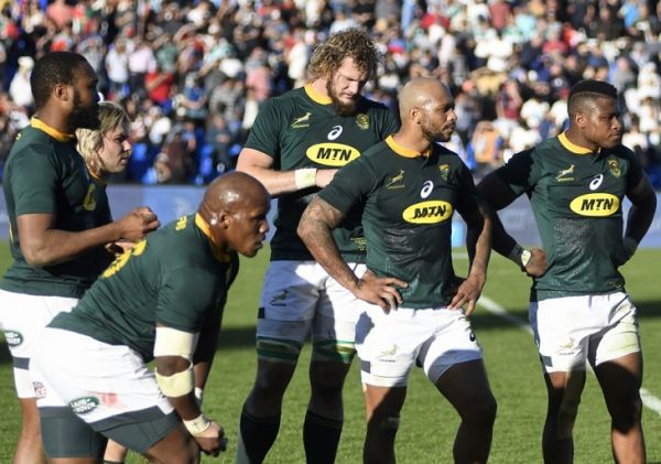South Africa's Springboks team members react in dejection after their Rugby Championship 2018 test match against Argentina at Malvinas Argentinas stadium in Mendoza, some 1050 km west of Buenos Aires, Argentina on August 25, 2018. Argentina's Los Pumas won by 32-19. PHOTO | AFP