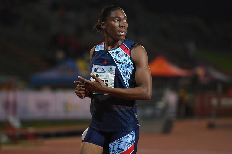 South African Olympic 800m champion Caster Semenya looks on after running the 1.500m senior women final at the ASA Senior Championships at Germiston Athletics stadium, in Germiston on the outskirts of Johannesburg, South Africa on April 26, 2019. PHOTO/AFP