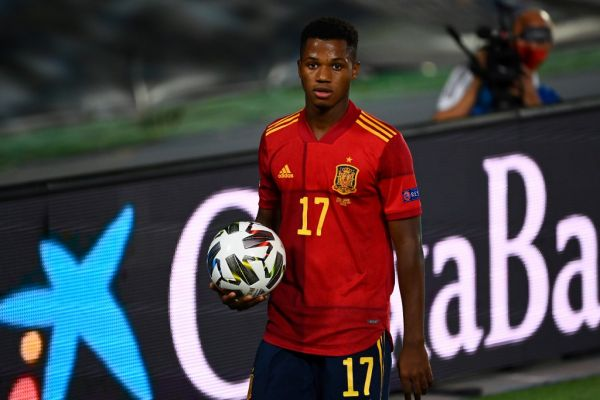 Spain's forward Ansu Fati holds the ball during the UEFA Nations League A group 4 football match between Spain and Ukraine at the Alfredo Di Stefano Stadium in Madrid on September 6, 2020. PHOTO   AFP