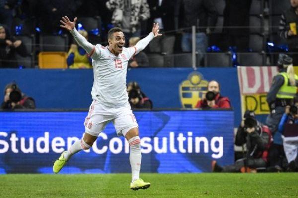 Spain's forward Rodrigo celebrates after scoring the 1-1 equaliser during the UEFA Euro 2020 Group F qualification football match Sweden v Spain in Solna, Sweden on October 15, 2019.PHOTO/ GETTY IMAGES