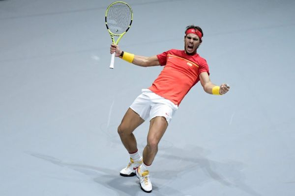 Spain's Rafael Nadal celebrates after winning the doubles quarter-final tennis match against Argentina's Leonardo Mayer and Argentina's Maximo Gonzalez at the Davis Cup Madrid Finals 2019 in Madrid on November 22, 2019. PHOTO | AFP