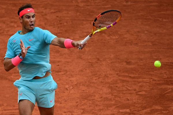 Spain's Rafael Nadal plays a forehand return to Belarus' Egor Gerasimov during their men's singles first round tennis match at the Philippe Chatrier court on Day 2 of The Roland Garros 2020 French Open tennis tournament in Paris on September 28, 2020. PHOTO | AFP
