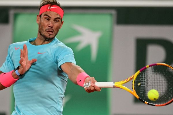 Spain's Rafael Nadal returns the ball to Italy's Jannik Sinner during their men's singles quarter-final tennis match on Day 10 of The Roland Garros 2020 French Open tennis tournament in Paris on October 6, 2020. PHOTO | AFP