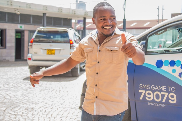 SportPesa Midweek Jackpot winner, Daniel Sumaili, poses on Monday, February 25, 2019 in Nairobi when he came to receive his KSh8,819,633. PHOTO/SPN
