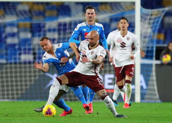 Stanislav Lobotka of Napoli and Simone Zaza of Torino during the football Serie A match SSC Napoli v Torino Fc at the San Paolo Stadium in Naples, Italy on February 29, 2020. PHOTO   AFP