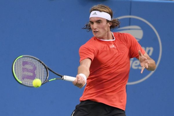 Stefanos Tsitsipas of Greece returns a shot from Jordan Thompson of Australia during Day 4 of the Citi Open at Rock Creek Tennis Center on August 1, 2019 in Washington, DC. PHOTO | AFP