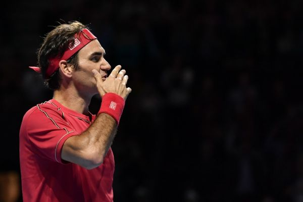 Swiss Roger Federer celebrates his victory during the final match at the Swiss Indoors tennis tournament in Basel on October 27, 2019. PHOTO | AFP