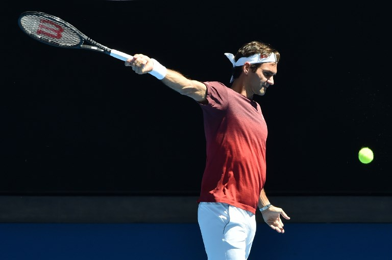Switzerland's Roger Federer attends a practice session ahead of the Australian Open tennis tournament in Melbourne on January 13, 2019. PHOTO/AFP