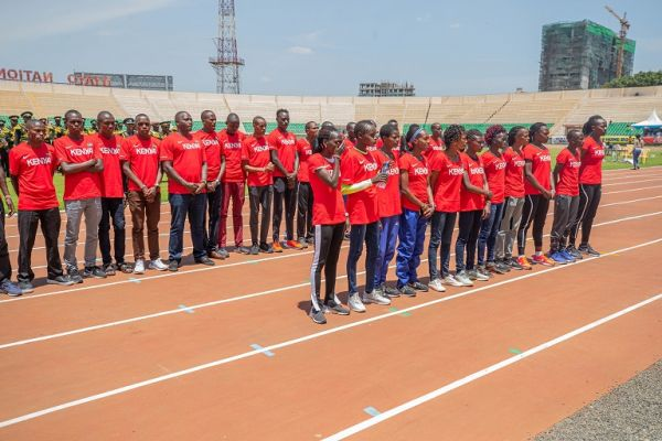 Team Kenya after Athletics Kenya national trials at Nyayo National Stadium in Nairobi on September 14, 2019. PHOTO/ DANCUN SIRMA