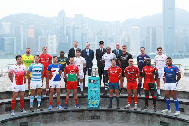 The 16 captains line up for the captain's photo prior to the Cathay Pacific HSBC World Rugby Sevens Series in Hong Kong on 3rd April 2019 (first row left to right: Japan- Dai Ozawa, Argentina- Santiago Alvarez, France- Jean Pascal Barraque, Portugal- Jorge Saldanha Abecasis, Spain- Francisco Hernandez, Wales- Luke Treharne, Kenya- Jeffery Oluoch, Samoa- David Afamasaga. Second row left to right: Australia- Lewis Holland, Canada- Harry Jones, South Africa- Siviwe Soyizwapi, USA- Madison Hughes, Fiji- Paula Dranisinukula, New Zealand- Tim Mikkelson, Scotland-Jamie Farndale, England- Phil Burgess). PHOTO/Mike Lee/KLC fotos for World Rugby