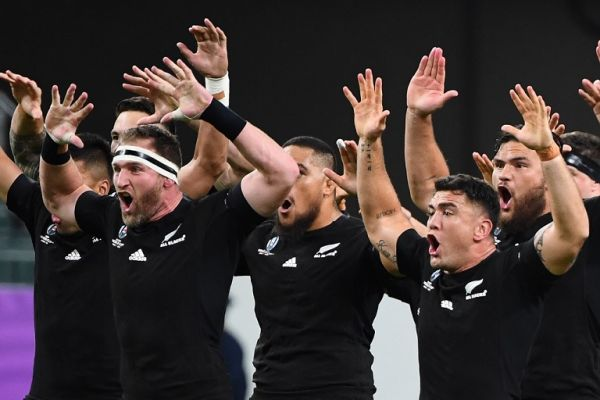 The All Blacks perform the Haka facing their Canadian opponents prior to kick off in the Japan 2019 Rugby World Cup Pool B match between New Zealand and Canada at the Oita Stadium in Oita on October 2, 2019. PHOTO | AFP