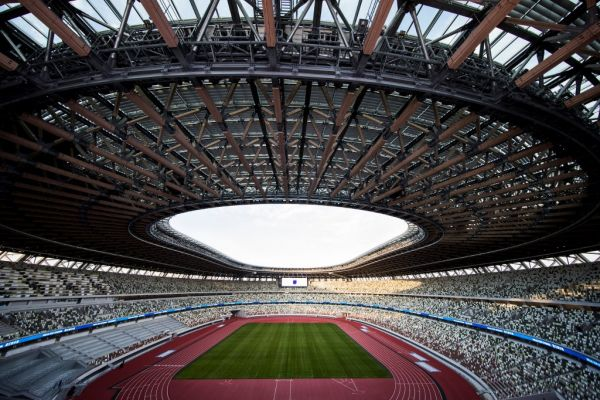 The National Stadium, venue for the upcoming Tokyo 2020 Olympic Games, is seen during a media tour following the the stadium's completion in Tokyo on December 15, 2019. The Tokyo 2020 Olympics organisers on December 15 celebrated the completion of the main stadium that features use of lumber and other Japanese architectural tradition, seven months before the Opening Ceremony. PHOTO | AFP