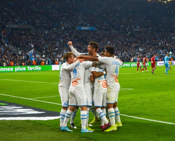 The players of Olympique de Marseille who celebrate after a goal during the match of Ligue 1 Olympique de Marseille / Olympique Lyonnais. Marseille, November 10, 2019. PHOTO | AFP