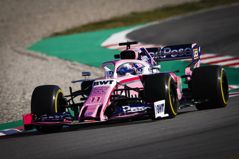 The RP19 car with Sergio Perez on board flies through the Circuit de Barcelona-Catalunya on the opening day of pre-season testing in Spain on February 18, 2019. PHOTO/SPN